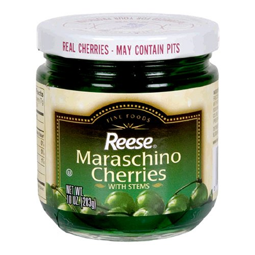 Reese Green Maraschino with Stem, 10-Ounce Jars (Pack of 12)