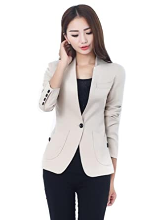 Aro Lora Women's Long Sleeve Solid Slim Casual Suit Jacket Blazer ...