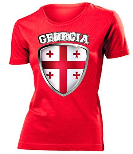 coppa del Mondo - Campionati Europei GEORGIA FAN mujer camiseta Tamaño S to XXL varios colores Rojo