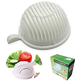 Ammiy Vegetable Salad Cutter Bowl, 8.3×7.5×4 in 30 Fast : Finish with only 60 seconds No waste: Just one bowl SIze: 8.3×7.5×4 in Clean: Cutting board free,direct making,more clean