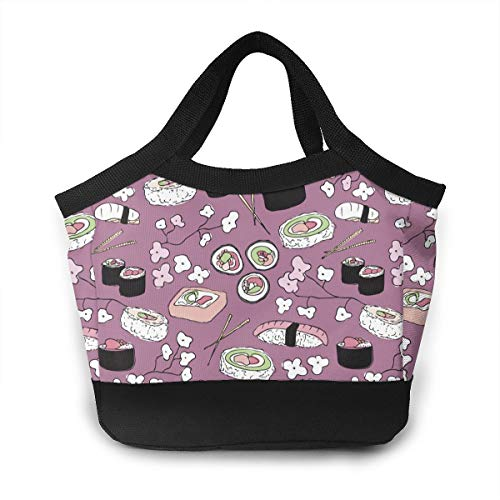 - Liusgit Purple Japanese Cherry Blossom Sushi School Lunch Box Pail Insulated Pack Accessories Ice Cooler Containers Tote Reusable Shopping Bag Hot Food Bento Warmer Prep Set Kit Decorations