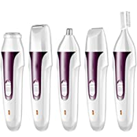 Painless Women's Hair Removal 5 in 1 Rechargeable Portable Hair Remover Electric Trimmer Hair Epilator for Face Eyebrow…