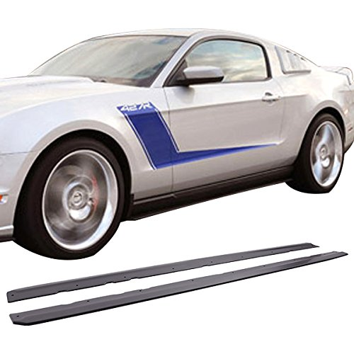 Side Skirts Fits 2005-2014 Ford Mustang | Unpainted Polyurethane (PU) Exterior Side Skirt Extensions Splitter by IKON MOTORSPORTS | 2006 2007 2008 2009 2010 2011 2012 2013 ()