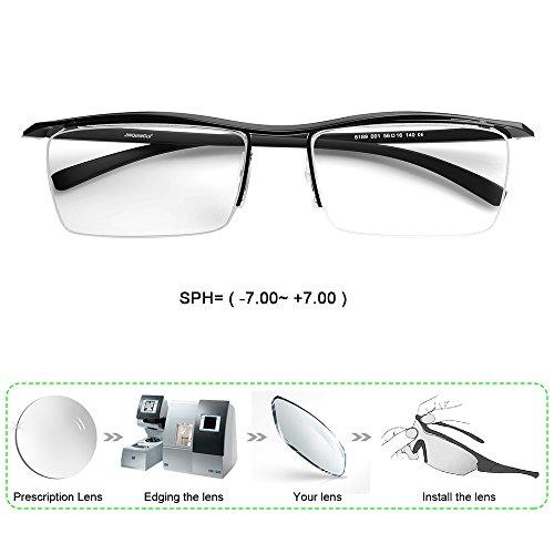 Customize Prescription Glasses Myopia Reading Glasses Unisex Semi Rimless Rectangle PC Lenses(-7.00~ +7.00) - Can Return You Glasses Prescription