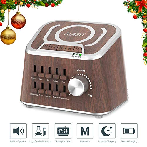 Session Master Wood - White Noise Machine, Olago Mixed Sound Sleep Spa Machine for Insomniac, Yoga, Working, Speech Privacy and Baby Nursery - Bluetooth Speaker with 10 Natural Soothing Sound