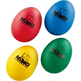 Nino Percussion Kids' 4-Piece Plastic Egg Shaker Percussion Set with Assorted Colors, Red, Blue, Green, Yellow, 2-Year Warranty (NINOSET540)