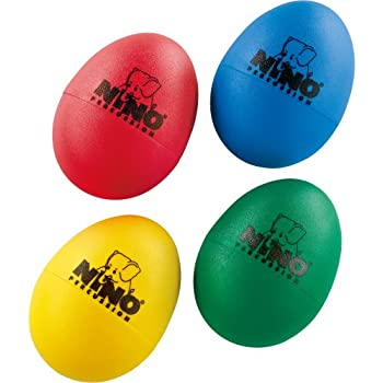 Nino Percussion NINOSET540 Kids Four Piece Plastic Egg Shaker Set with Assorted Colors (VIDEO)