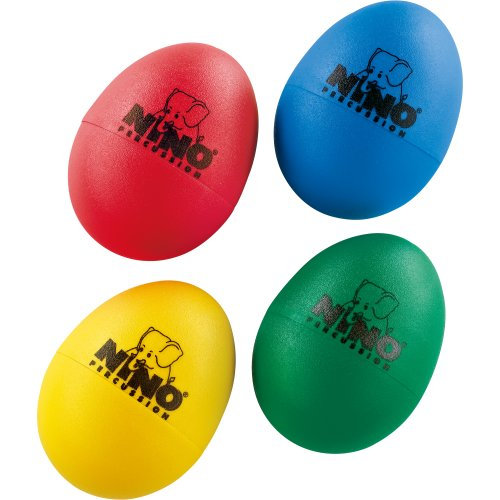 Nino Percussion Kids 4-Piece Plastic Egg Shaker Percussion Set with Assorted Colors, Red, Blue, Green, Yellow, 2-Year Warranty (NINOSET540)