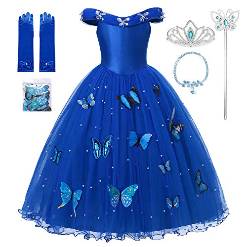 Handmade Cinderella Dress (MUABABY Girls Cinderella Princess Pageant Ball Gowns Kids Tulle Flower Girls Dresses (2 Years,)