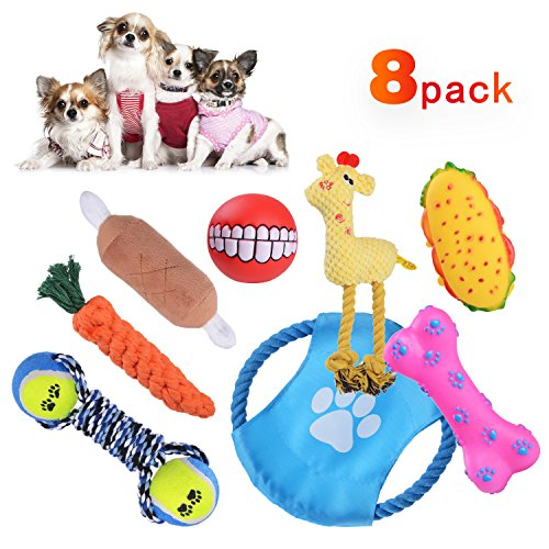 Victorsooner Pack of 8 Dog Chew Toys, Squeak and Rope Dog Toys for Puppies Small Dogs