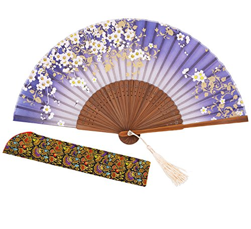 [Meifan Chinese/Japanese Handmade Handheld Folding Fan (Blue)] (Mini Black And White Spanish Hat)