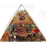7 Chakra Crystal Orgone Pyramid Kit/Includes 4 Crystal Quartz Energy Points/EMF Protection Meditation Yoga Energy Generator