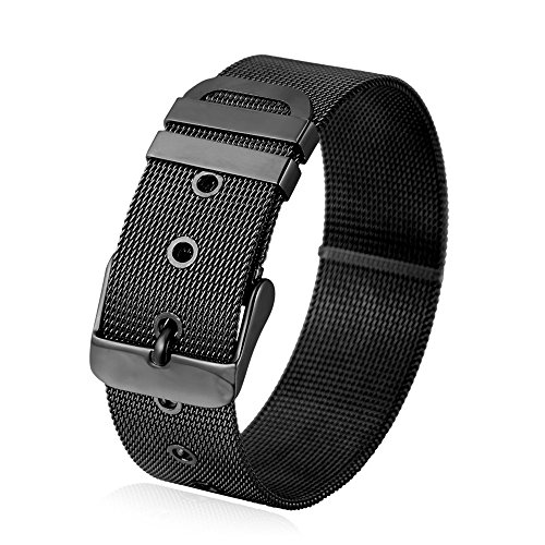 Men Stainless Steel Black Gun Plated Mesh Chain Belt Buckle Bracelet Bangle
