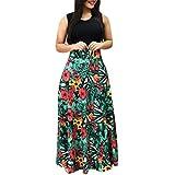 Saymany 2019 Women Summer Sleeveless Bohemian Style Floral Print Casual Dress Swing Dress Maxi Green