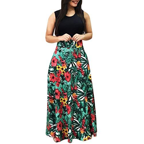 kaifongfu Long Maxi Dress for Women Floral Boho Print Casual Ladies Dress(Black Sleeveless,L)