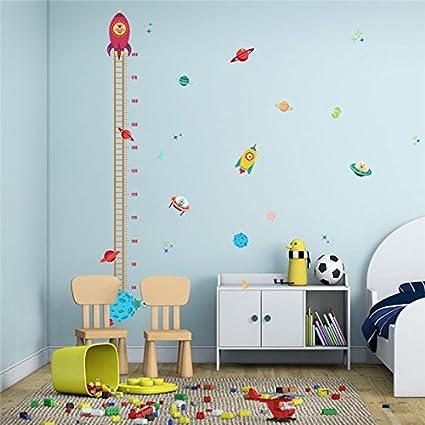 Medidor altura niños Pegatina pared vinilo decorativo cohetes ovnis ...