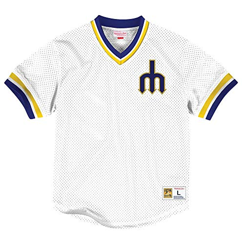 4b757d3471c Mitchell   Ness Seattle Mariners Men s V-Neck Mesh Pullover Throwback ...