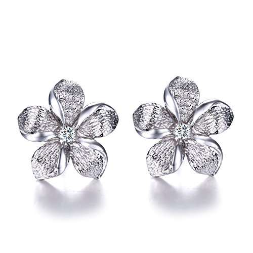 Hypoallergenic 925 Silver Hawaiian Plumeria Flower Stud Earrings CZ Halo White Gold plated for Girls