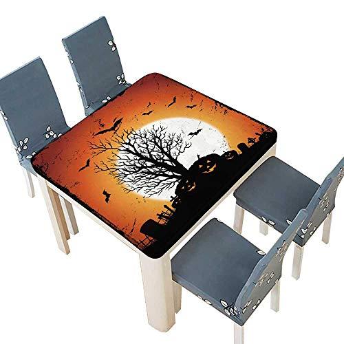PINAFORE Spillproof Fabric Tablecloth Jack O' Lantern Pumpkins Halloween Holidays Dining Room 45 x 45 INCH (Elastic Edge) -