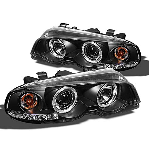 (Xtune 2000-2003 BMW E46 3-Series 2 DR 2001-2006 M3 Halo LED Black Projector Headlights Lamp Pair Left+Right 2001 2002)