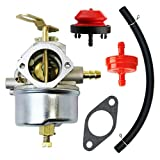 QAZAKY Adjustable Carburetor with Gasket Fuel Filte Line for Tecumseh 640349 640052 640054 640058 640058A HMSK80 HMSK85 HMSK90 HMSK100 HSMK110 LH318A LH358SA 8HP 9HP 10HP Snowblower Chipper Shredder