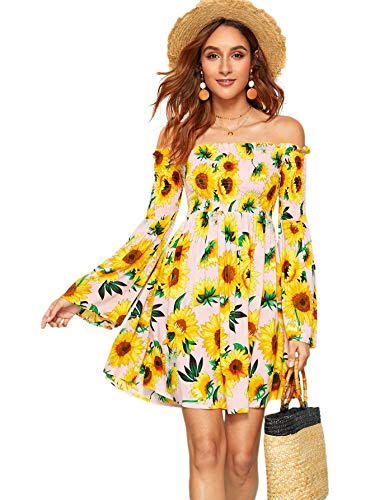Romwe Women's Sexy Off Shoulder Dress Floral Print A Line Fit and Flare Mini Dress Pink S - Off Shoulder Mini