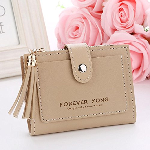 Khaki Handbag Card Tassel Zipper Letters Coin Clearance ShenPr Holders Women Purse Short Wallet qZ7xOAwn