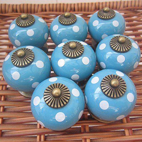 Tangpan 30mm Ceramic Spot Dargon Ball Door Handle Pull Knobs Cabinet Door Cupboard Drawer Locker Vintage Retro Gold Pack of 8 Color Blue