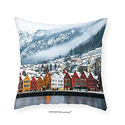 (VROSELV Custom Cotton Linen Pillowcase European Cityscape Decor Collection Winter View of Bruges Norway Northern Mountain Landscape European Print Urban Deco Bedroom Living Room Dorm Multi 20