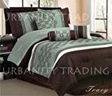 Tracy 7Pc Comforter Set Sage, Chocolate Modern Bed-in-a-bag Queen Size Bedding