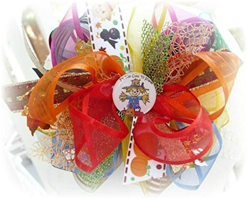 [TOO CUTE TO SCARE SCARECROW FACE HAIRBOW PUMPKIN FALL THANKSGIVING HAIR BOW INFANT TODDLER LITTLE GIRLS YELLOW ORANGE BROWN BLUE PINK GREEN FALL] (Cute Scarecrow Costumes)