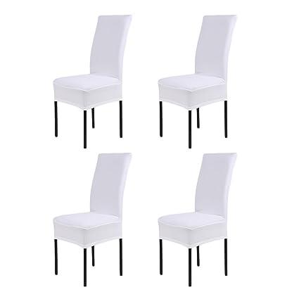 LianLe® 4pcs Fundas para sillas, fundas elásticas, cubiertas para sillas,color blanco