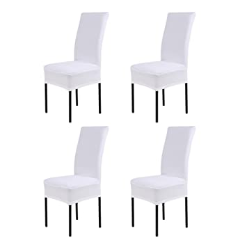 LianLe® 4pcs Fundas para sillas, fundas elásticas, cubiertas para sillas,color blanco: Amazon.es: Hogar