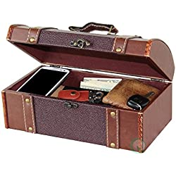 Vintiquewise(TM) Dresser Valet Leather Chest with Velvet Lining