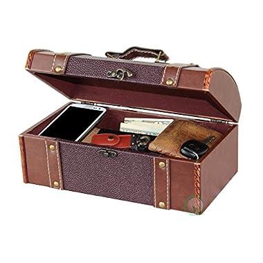 Vintiquewise(TM) Dresser Valet Leather Chest with Velvet Lining