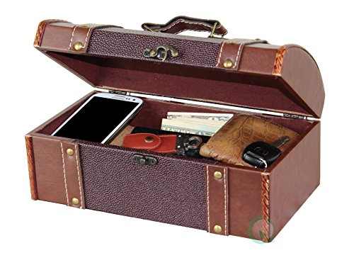 Top Jewelry Chest - Vintiquewise(TM) Dresser Valet Leather Chest with Velvet Lining