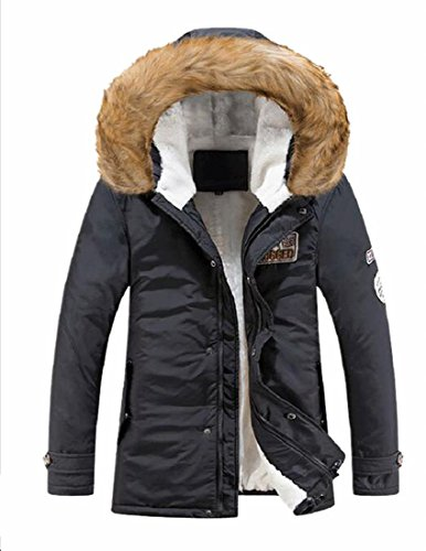 Winter Lined Warm Hooded 1 TTYLLMAO Coats Fur Faux Jackets Casual Men's Aw4FKWq76Z