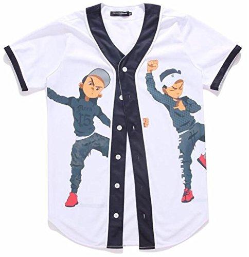 LuckB Mens 3D Printing Graphic Baseball Jersey Hipster Hip Hop Short Sleeve T-Shirt
