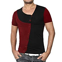 Clearance! Paymenow Men Summer Patchwork Tee Fashion Round Neck Button Pullover Short Sleeve Slim T-shirt