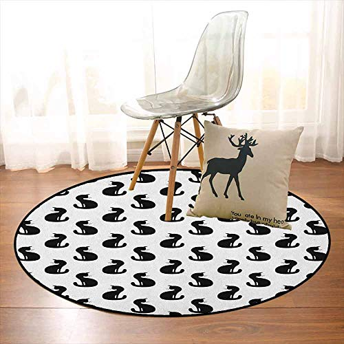 Cat Non-Slip Absorbent Carpet Silhouette of a Kitten Monochrome Feline Pattern House Pet Illustration Halloween Better underfoot Protection D39.7 Inch Black White]()