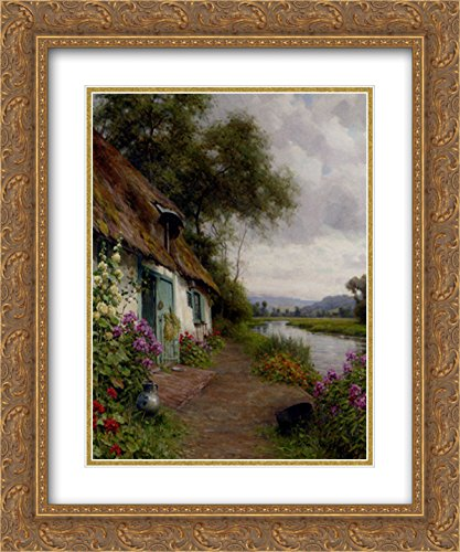 Louis Aston Knight 2x Matted 20x24 Gold Ornate Framed Art Print 'A Riverside - Riverside Galleria
