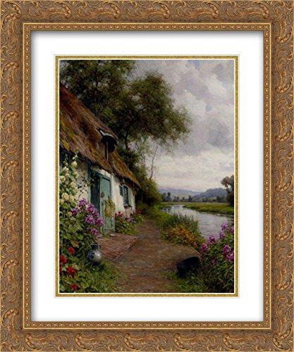 Louis Aston Knight 2x Matted 20x24 Gold Ornate Framed Art Print 'A Riverside - Galleria Riverside The
