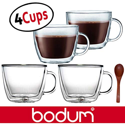 Bodum Bistro Double-Wall Insulated Glass Cafe Latte Mugs - 0.45 Liter, 15-Ounces, Clear (Set of 4 Glasses) & Zonoz Wooden Small Stirring Spoon Bundle ()