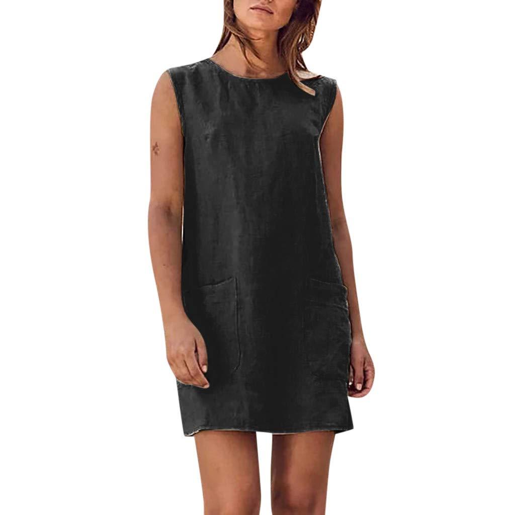 Women's Summer Casual Sleeveless Linen Mini Dress Sundress with Pockets Beach T Shirt Dresses Black