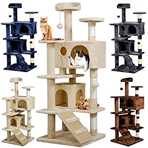 Yaheetech 51in Cat Tree Tower Condo Furniture Scratch Post for Kittens Pet House Play 47