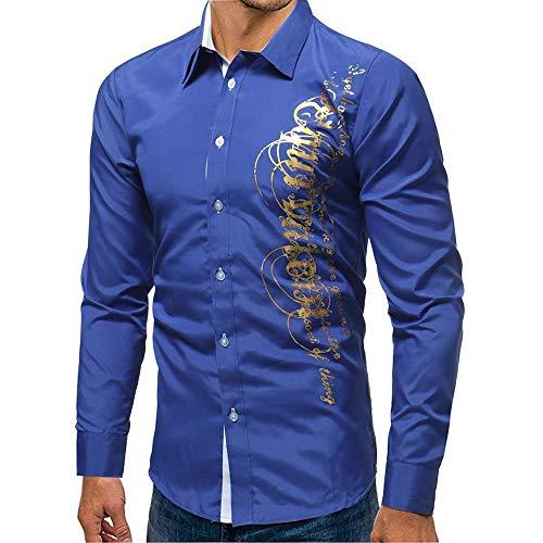 HULKAY Men Tops Sale Clearance Long Sleeve Lapel Neck Printed Button Slim T-Shirt Blouse Coats Sweatshirt(Blue,2XL)