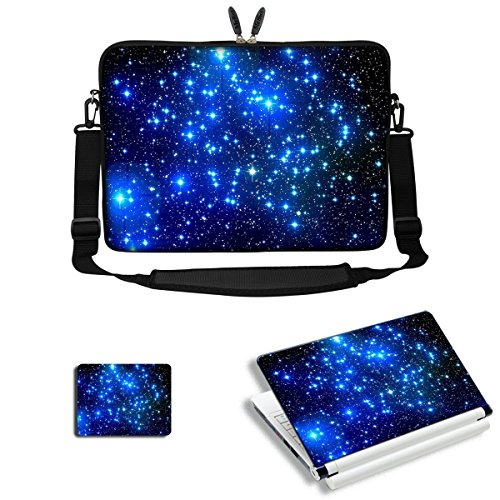 Meffort Inc 15 15.6 inch Laptop Carrying Sleeve Bag Case with Hidden Handle & Adjustable Shoulder Strap with Matching Skin Sticker and Mouse Pad Combo - Galaxy Stars