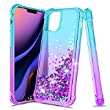iCoold Case for iPhone 11 pro,[5.8] Four-Corner Glitter Bling Floating Quicksand Silicone Slim Non-Slip Shockproof Bumper Protective TPU Cover for Girls Women (Teal/Purple)