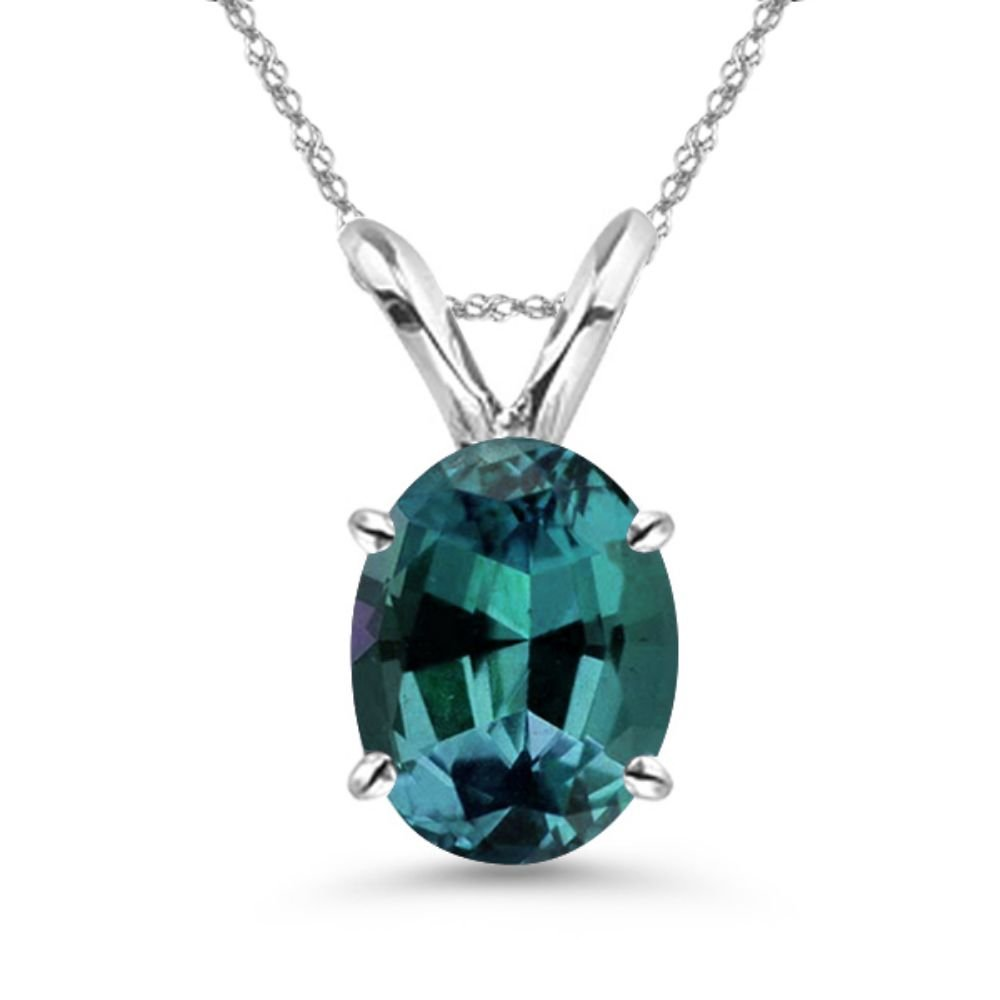 Christmas Offer - 1.94-2.95 Cts of 9x7 mm AAA Oval Lab created Russian Alexandrite Solitaire Pendant in 14K White Gold