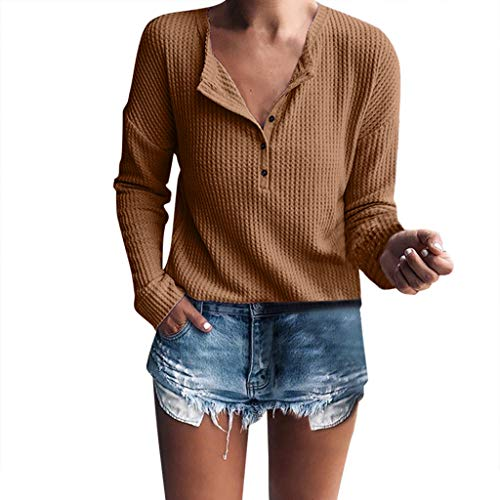 Waffle Knit Striped Hoodie - T-Shirt for Women,Summer Ladies Waffle Knit Tunic Tops Loose Short Sleeve Button Up V Neck Henley Shirts Blouse Tops Coffee